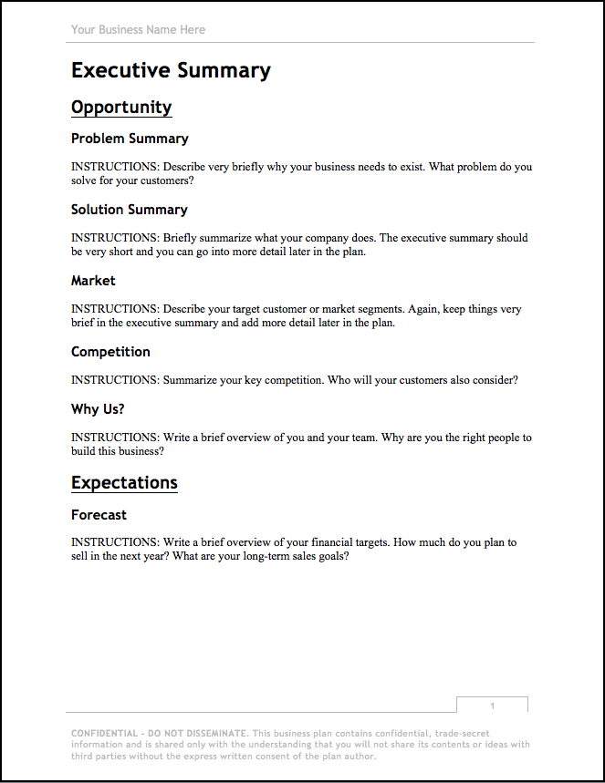 1 Business Plan Template For A Small Business pertaining to Very Simple Business Plan Template