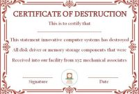10+ Hard Drive Certificate Of Destruction Templates: Useful with regard to Certificate Of Disposal Template