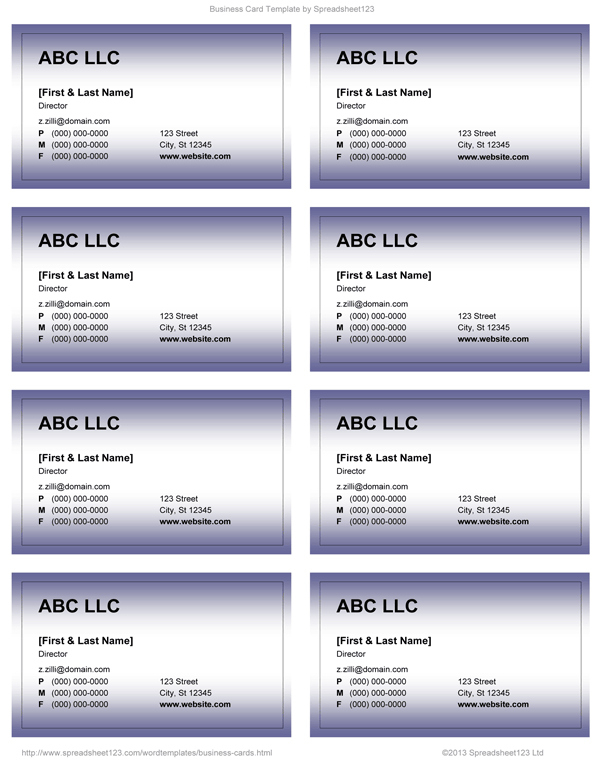 19 Free Business Card Templates On Word With Stunning Design inside Word 2013 Business Card Template