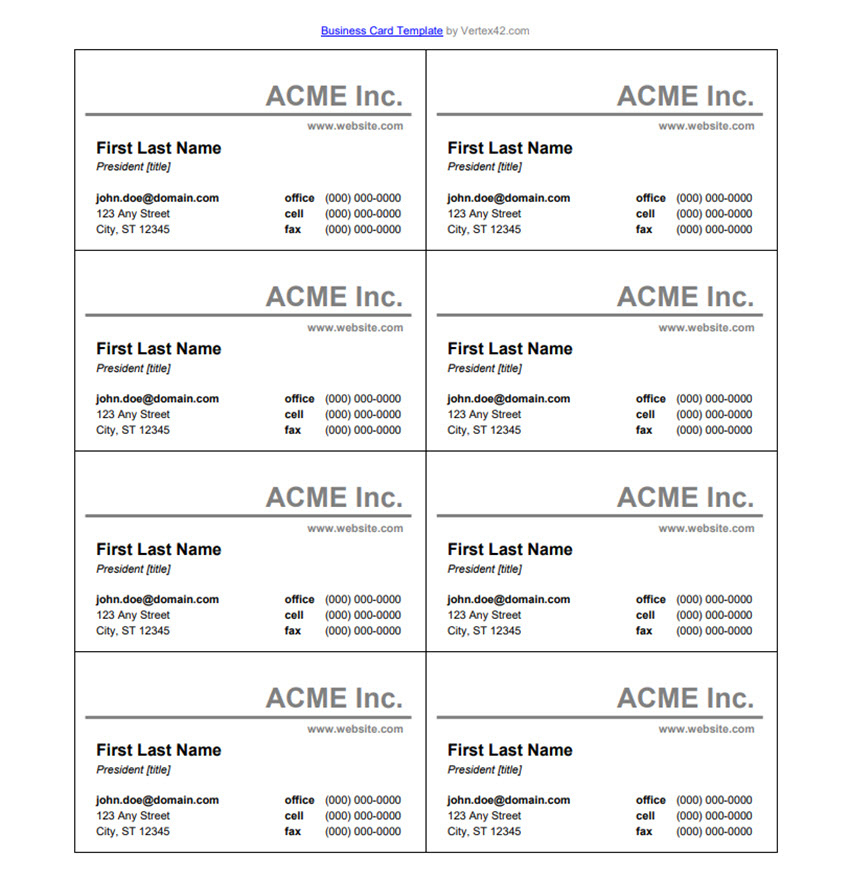 25+ Free Microsoft Word Business Card Templates (Printable inside Word Template For Business Cards Free