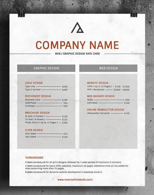 25+ Rate Card Templates ( Rate Sheet Templates ) | Web throughout Rate Card Template Word
