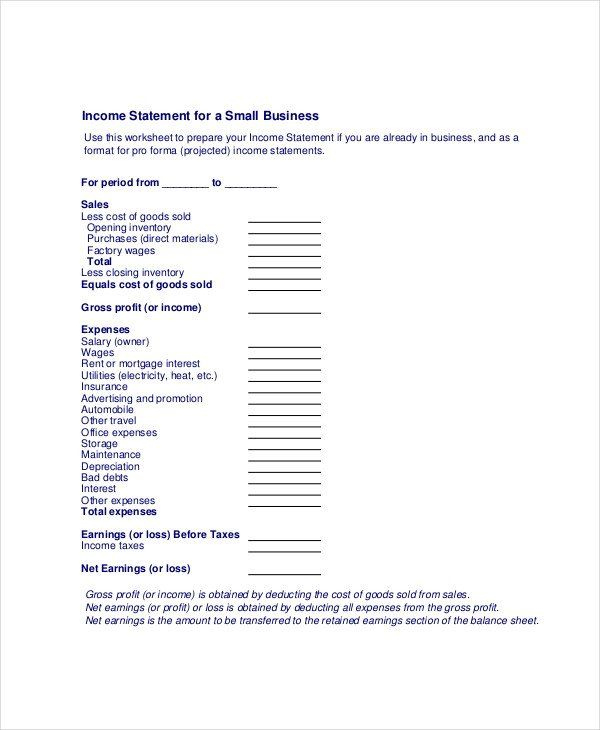 28 Small Business Financial Statement Template In 2020 Pertaining To Financial Statement For Small Business Template