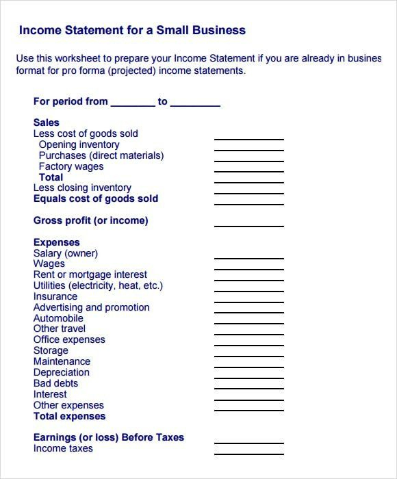 28 Small Business Financial Statement Template In 2020 With Regard To Financial Statement For Small Business Template