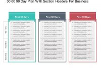 30 60 90 Day Plan With Section Headers For Business | 90 Day with 30 60 90 Business Plan Template Ppt