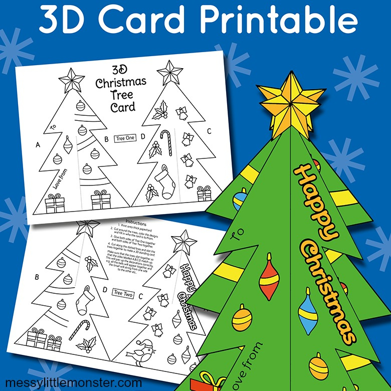 3D Christmas Tree Card Template - Messy Little Monster for 3D Christmas Tree Card Template