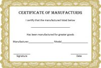 4+ Printable Certificate Of Manufacture Template with Certificate Of Manufacture Template