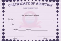40+ Real & Fake Adoption Certificate Templates – Printable within Adoption Certificate Template