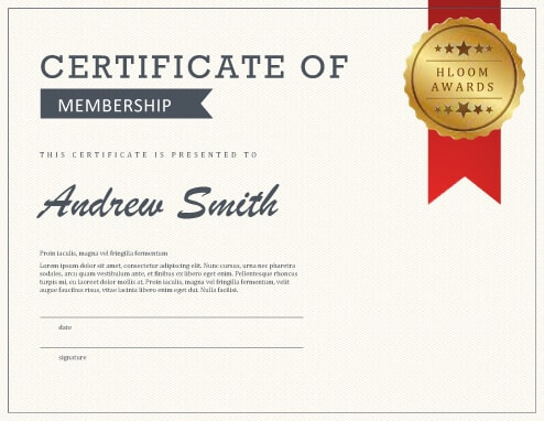 5 Certificate Of Membership Templates [Free Download] | Hloom pertaining to New Member Certificate Template