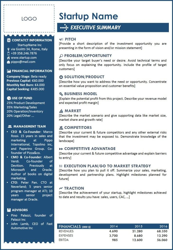 5 Free Executive Summary Templates - Excel Pdf Formats in One Page Business Summary Template