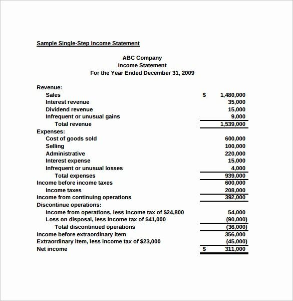50 Unique Small Business Income Statement Template In 2020 Intended For Financial Statement For Small Business Template