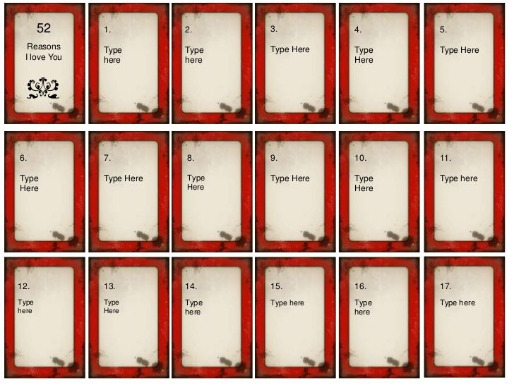 52 Things I Love About You Card Deck Template Free - Google throughout 52 Things I Love About You Deck Of Cards Template