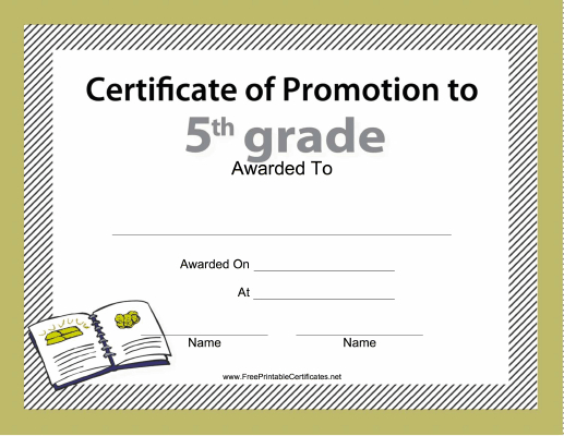 5Th Grade Promotion Certificate Printable Certificate for 5Th Grade Graduation Certificate Template