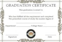 8 Awesome Free Printable Masters Degree Certificate with College Graduation Certificate Template