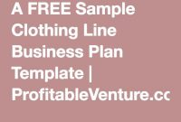 A Free Sample Clothing Line Business Plan Template intended for Business Plan Template For Clothing Line