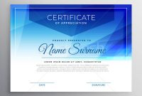 Abstract Blue Award Certificate Design Template Vector inside Award Certificate Design Template