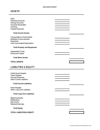 Balance Sheet Form   Balance Sheet, Small Business In Small Business Balance Sheet Template