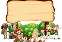 Banner Template Design With Kids In Outdoor Outfit   Free Vector with Outdoor Banner Design Templates
