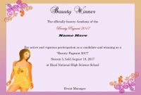 Beauty Pageant Certificate Template Example Resume for Pageant Certificate Template