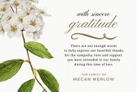 Bereavement Thank You Note Message | Funeral Thank You Cards with Sympathy Thank You Card Template