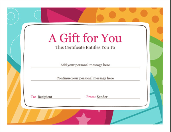 Birthday Gift Certificate (Bright Design) For Microsoft Gift Certificate Template Free Word