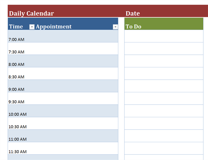 Blank Daily Calendar for Printable Blank Daily Schedule Template