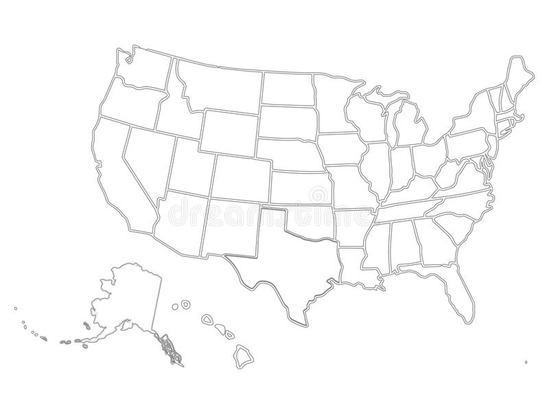 Blank Similar Usa Map On White Background. United States Of with regard to United States Map Template Blank