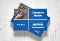 Blue Plastering Business Cards in Plastering Business Cards Templates