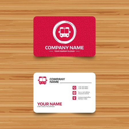 Business Card Template With Texture. Bus Sign Icon. Public Throughout Transport Business Cards Templates Free
