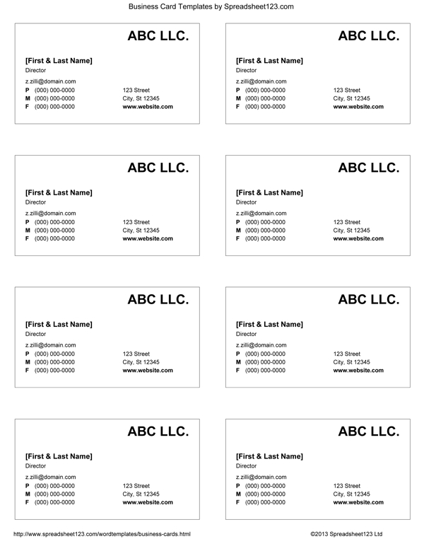 Business Card Templates For Word within Word 2013 Business Card Template