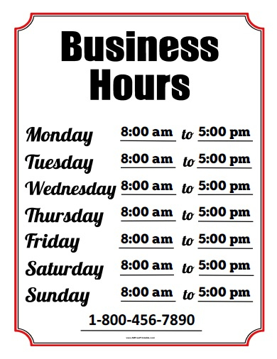 Business Hours Sign - Free Printable - Allfreeprintable with Business Hours Template Word