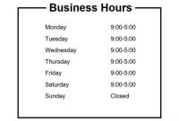 Business Hours Sign/hours Of Operation Sign – Customize And regarding Business Hours Template Word