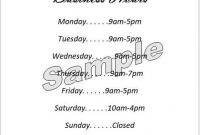 Business Hours Sign/hours Of Operation Sign – Editable And Printable  Template (Microsoft Word Doc Digital Download) inside Business Hours Template Word