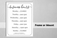 Business Hours Sign, Printable Template, Hours Of Operation in Business Hours Template Word