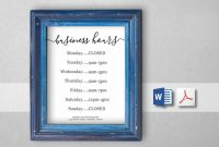 Business Hours Sign, Printable Template, Hours Of Operation with regard to Business Hours Template Word