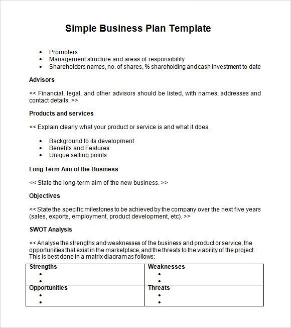 Business Plan Template   Cv.resummer.co Intended For Very Simple Business Plan Template