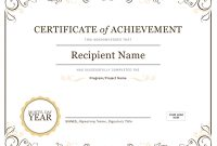Certificate Of Achievement for Microsoft Word Certificate Templates