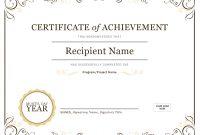 Certificate Of Achievement in Certificates Of Appreciation Template
