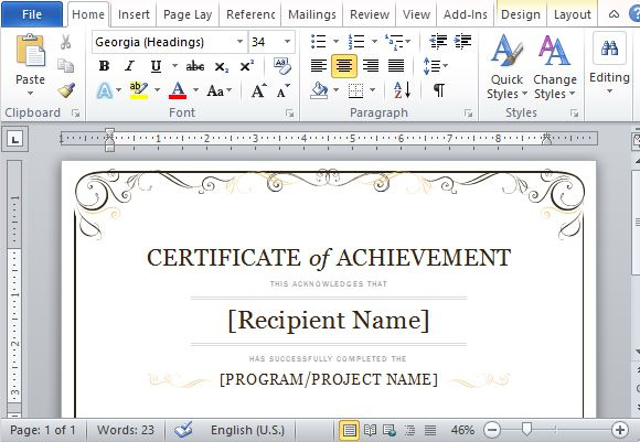 Certificate Of Achievement Template For Word 2013 for Word 2013 Certificate Template