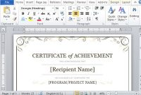 Certificate Of Achievement Template For Word 2013 throughout Microsoft Word Certificate Templates