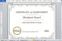 Certificate Of Achievement Template For Word 2013 with Word 2013 Certificate Template