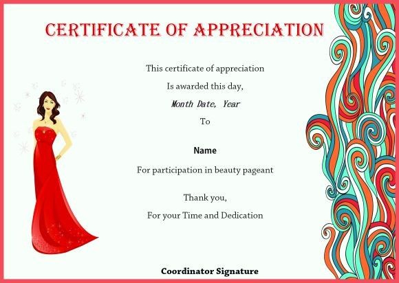 Certificate Of Appreciation For Beauty Pageant On Beauty inside Pageant Certificate Template