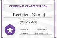 Certificate Of Appreciation Template | Free Sample Templates regarding Certificates Of Appreciation Template