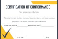 Certificate Of Conformance Template: 10 High Quality Samples in Certificate Of Conformity Template