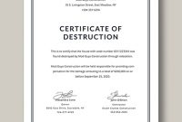 Certificate Of Destruction Template (13 for Destruction Certificate Template