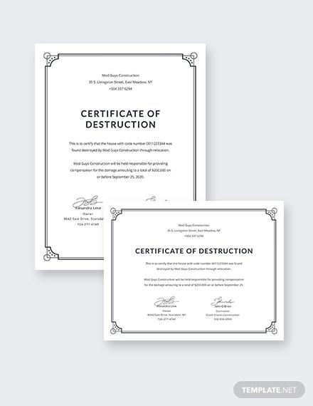 Certificate Of Disposal Template (3 In Certificate Of Disposal Template