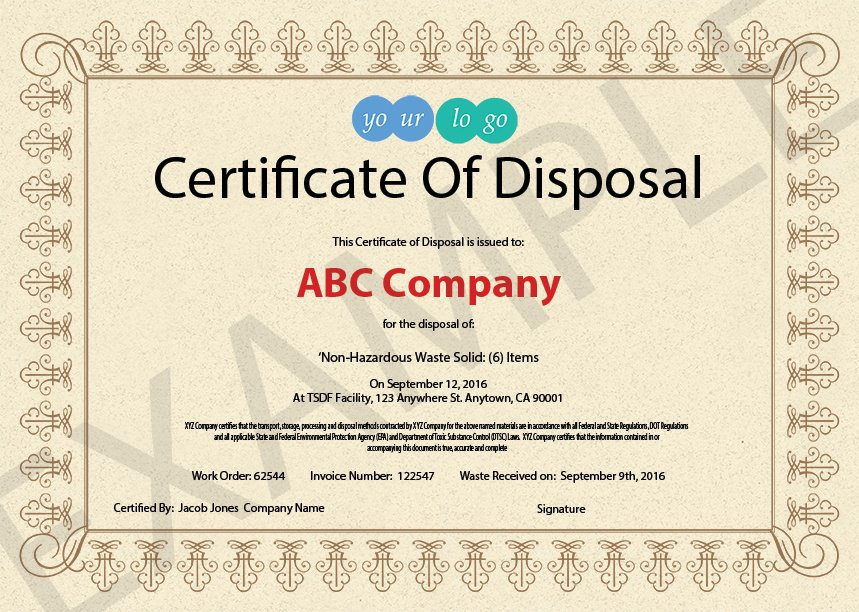 Certificate Of Disposal Template (7 Intended For Certificate Of Disposal Template