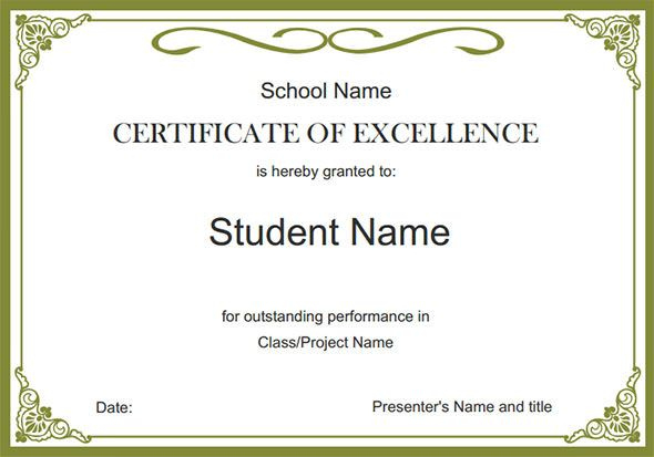 Certificate Of Excellence,free Certificate Templates regarding Certificate Templates For School