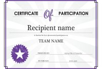 Certificate Of Participation with regard to Participation Certificate Templates Free Download