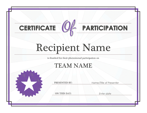 Certificate Of Participation within Participation Certificate Templates Free Download