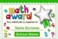 Certificate Template For Math Award | Free Vector regarding Math Certificate Template